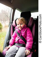 auto, kleines mädchen, sitz