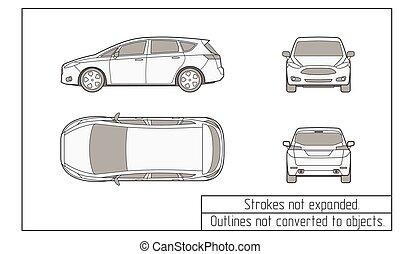 Auto, skizzen, gegenstände, not, verwandelt, zeichnung,... Vektoren ...
