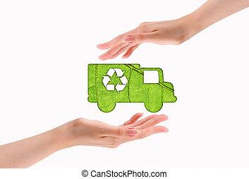 auto, knippen, groen blad