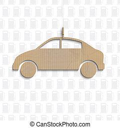 auto, knippen, karton, uit