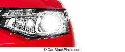 auto, koplamp, rood