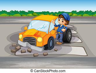 auto, laan, botsing, voetganger