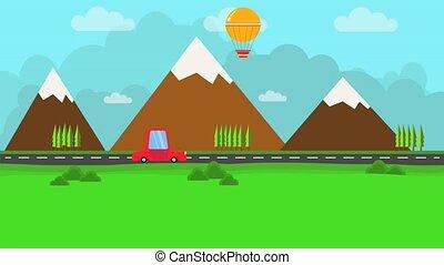 auto, landschaftsbild, fliegendes, balloon.