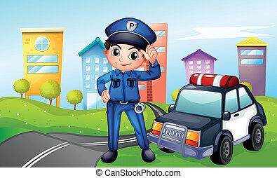 auto, langs, straat, politie, politieagent