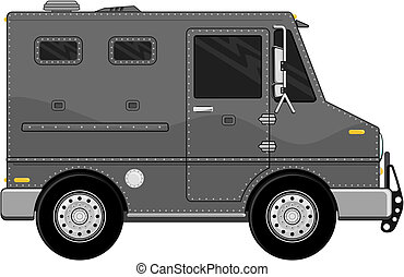 auto, lastwagen, gepanzert, bank, karikatur