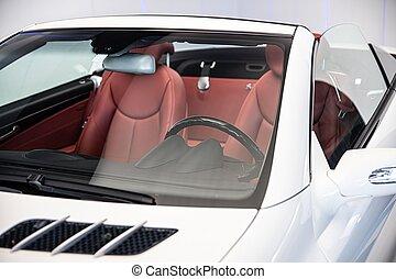 auto, leder, luxe, converteerbaar, zetels, rood