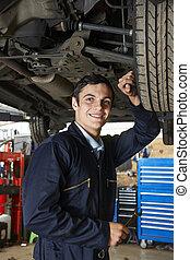 auto, leerling, werktuigkundige, werkende , onder