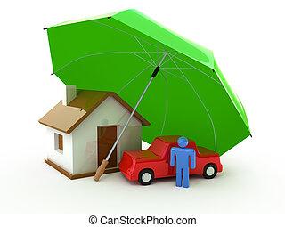 auto, leven, verzekering, thuis