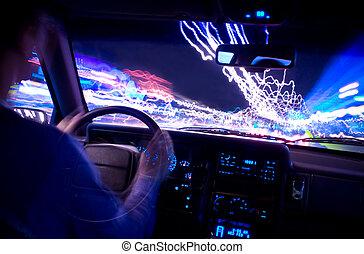 auto- licht, spuren, 3, -, treiber