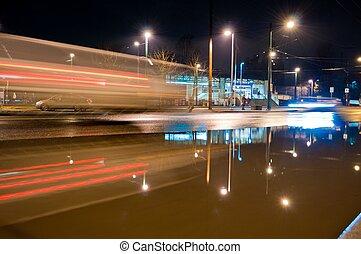 auto- licht, spuren, bei, station