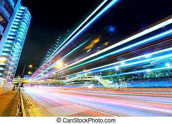 auto- licht, spuren, in, hongkong