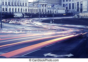 auto, lichter, auf, der, zentral, stadt, streets.