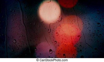 auto, lichter, nacht, regen, bokeh