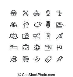 auto, ligne, route, icônes