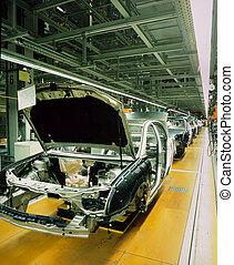 auto, lijn, fabriekshal