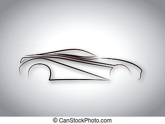 auto, linea, logotipo