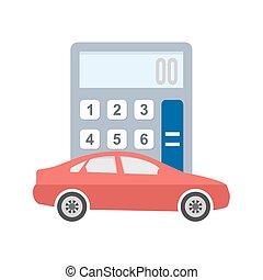 Auto Loan Calculator - Car, vehicle, calculation icon vector...