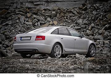 auto, luxe, achterk bezichtiging