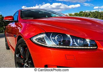 auto, luxe, rood, aanzicht