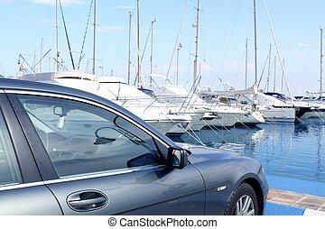 auto, luxusyacht, spanien, marina, segelboote