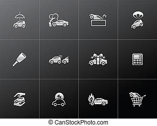auto, métallique, -, assurance, icônes