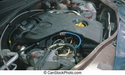 auto, -, magasin, fonctionnement, réparation voiture, capuchon, sous, moteur