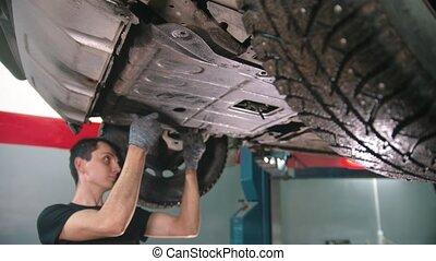 auto, -, magasin, fonctionnement, réparation voiture, jeune homme, sous