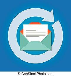 auto, mandare, email, risposta, automatico, risposta, icona