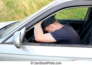 auto, mann, schlafend, herbst
