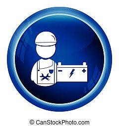 auto, mann, service, mechaniker, ikone