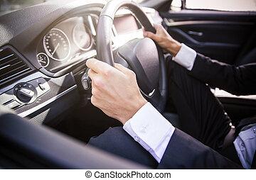 auto, mannelijke , geleider, handen