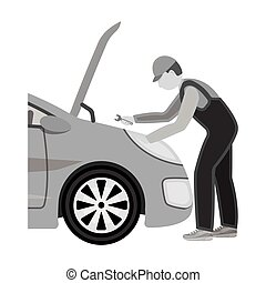 Auto mechanic and adjustment single icon in monochrome style for design. Car maintenance station vector symbol stock illustration .