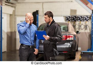 auto mechanic and customer at car shop - auto service,...