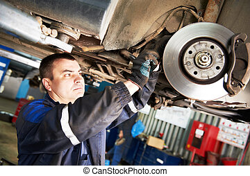 auto mechanic at car brake shoes eximining - automobile ...