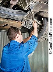 auto mechanic at car suspension repair work - car mechanic...