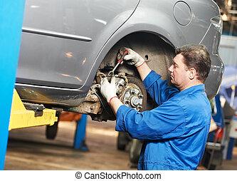 auto mechanic at car suspension repair work
