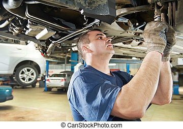 auto mechanic at car suspension repair work - car mechanic ...
