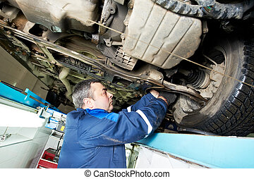 car mechanic tighten screw in make suspension adjustment with spanner during automobile wheel alignment work at repair service station