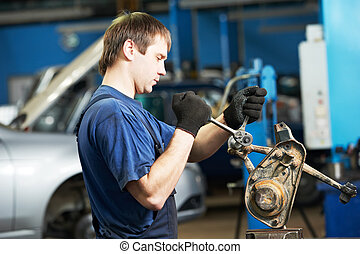 auto mechanic at work with wrench spanner