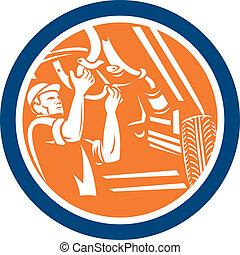 Auto Mechanic Automobile Car Repair Circle Retro