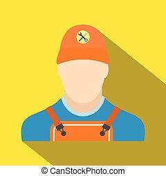Auto mechanic avatar flat icon with shadow