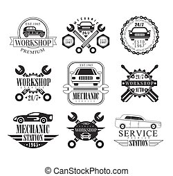 Auto Mechanic Black And White Emblems. Classic Style Vector Monochrome Graphic Design Logo Set With Text On White Background