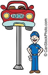 Auto Mechanic Car Lift - Repairman standing next to a car...