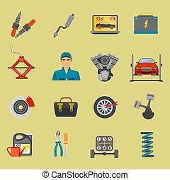 Auto mechanic car repair service flat icon set