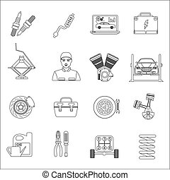 Auto mechanic car repair service thin line icons set
