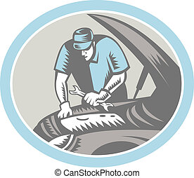 Auto Mechanic Car Repair Woodcut Retro - Illustration of an...