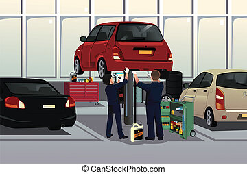 Auto mechanic fixing a car under the hood - A vector...