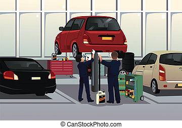 Auto mechanic fixing a car under the hood - A vector ...