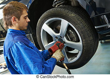 auto mechanic screwing car wheel by wrench - car mechanic...