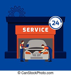 Auto mechanic service center flat banner